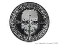 ONE SHOT ONE KILL NO REMORSE I DECIDE SNIPER SKULL BELT BUCKLE