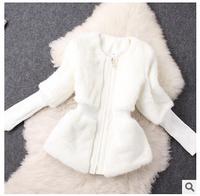 Plus size slim women rabbit fur short jacket 2015 new fashion europe style autumn winter solid o-neck patchwork coat F0947 HOT