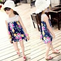 New Summer Kids Baby Girl Sleeveless Lace Princess Dress Floral  Dress