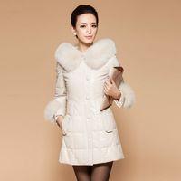 2014 leather clothing genuine leather female medium-long down coat sheepskin fox fur slim plus size