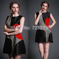 Fashion Dress New Arrival Elegant 2015 Geometry patchwork slim Waist one-piece dress Women's Dress