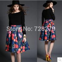 New Arrival Fashion Vintage 2015 colorant match print slim medium-long Dress Pint DRESSES