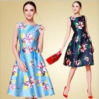 European Style 2015 Summer New Arrival Women Sleeveless Cute Floral Print Casual A-Line Mid-Calf Dress Plus Size Vestido Dresses