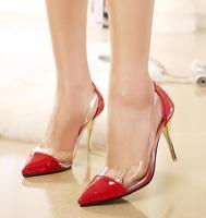 HOT Women Pumps High Quality Fashion PU Leather Thin High-Heel Pumps Woman Shoes 3
