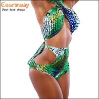 2015 Snake Skin Printed bandage bikini high waisted bathing suits halterneck swimming suit for women