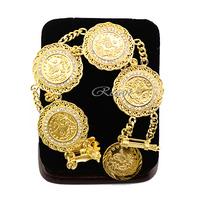 1pcs 19cm Chunky Big 29mm Width Women Men Boys 22K Luxury Yellow Gold Filled Coin Crystal Bracelet  E355