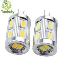 Tanbaby 10pcs X 12led SMD 5730 G4 led light DC12V white or warm white led corn bulb chandelier spotlight car boat lamp