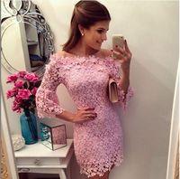 free shipping fashion women 2015 Spring summer casual lace crochet Bodycon evening party cute dress vestido de renda festa pink