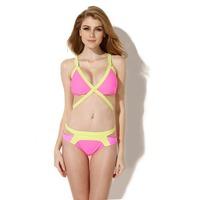 Free Shipping  15033 Women's Sexy Bandage Summer Splice 2PCS Swimsuit Swimwear Bikini Set