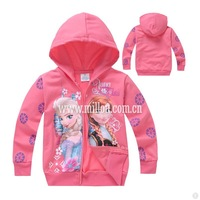 2015 New Spring Sister Princess Clothes Girls Coats Baby Anna's Elsa's Outerwears Kids Printed Sweater Cartoon Clothing
