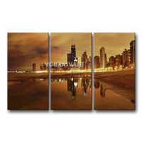 3 Piece Brown Painting On Canvas Wall Art Chicago Skyline Pictures Print City The Picture Decor Oil For Home Decoration