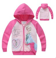 2014 New Design Elsa's Princess Clothes Girls Coats Baby  Outerwears Olaf Printed Kids Sweater Cartoon Clothing