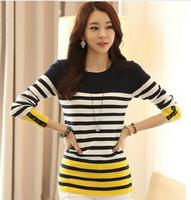 Knitted Cotton Winter Women's Blouse blusas feminina 2015 autumn patchwork long sleeve shirt female striped ladies top