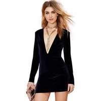 2015 new fashion solid color Velvet sexy & club women dress deep V-neck Mini back hollow out ladies dress J1109