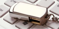 Hot! Stainless Steel USB 2.0 Flash Drive Memory Stick Pen Drive Silver Metal With Key Ring 128GB