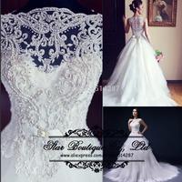 2015 Vestido De Noiva Lace Cap Sleeves Long A Line Wedding Dresses With Beading Bridal Dress