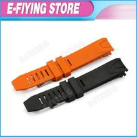 Top Grade Orange Black Color 20mm Rubber Watchband for Omega Ocean Planet Railmaster Sport Bracelet 20mm