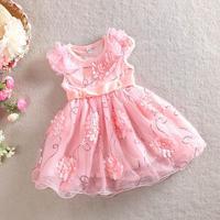 2015 spring new arrival girls handwork flower petal paillette party dress kids princess tutu dress 905