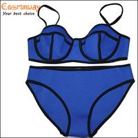 2015 New blue green pink orange Sexy Bandage Neoprene Bikini Set Push Up Swimsuit Swimwear