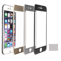 Luxury Free Shipping Metal Aluminum Frame Premium Tempered Glass Screen Mobile Front Skin Protectors For Apple iPhone 6 4.7''