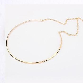Новый горячая распродажа мода простой личности панк покрытие золото серебро колье ...