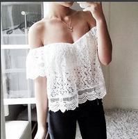 Spring Summer 2015 New Woman White Crochet Full Lace t-shirt Sexy Fashion Slash Neck Tops Casual Shirt