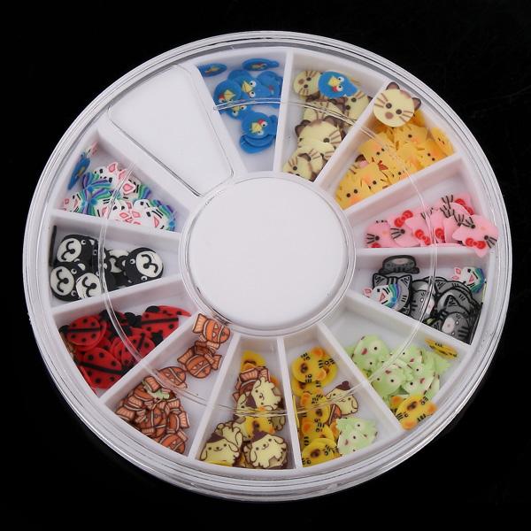 New Arrival 120Pcs Multicolor Animals Fimo Nail Art Nail Tips Slice Decoration Wheel(China (Mainland))