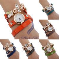 Women Casual Watches Elegant Flower Sling Chain Wrist Watch Circle female Wristwatch
