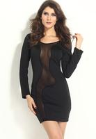 HOT ! Long Sleeve Women Casual Dress Black Mesh Spliced Sexy Club Wear Bodycon Mini Dress B5315 Fshow