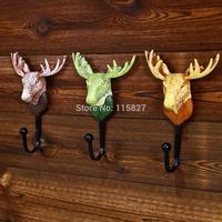 New Arrival!3pc/lot Heavy Duty Deer Head Design Resin Wall Hook Metal Coat&Hat Wall Hanger Home Deocration