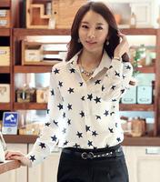 Casual Blouse 2015 New pentagram printed chiffon Long sleeved Woman Shirt