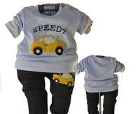 hot sale baby clothing set car cartoon boy suit t-shirt+pants 2pcs autumn infant clothing newborn XMZ045