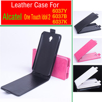 Free Shipping!!! Original Hot Selling High Quality Flip Cover Leather Case for 5.0'' ALCATEL One Touch idol 2  6037Y;6037B;6037K