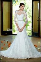Fresh Looking Mermaid High Neck Beaded Waistline Sweep Train Lace 3/4 Sleeves Wedding Gowns