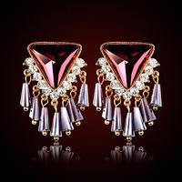 QMODE 2015 Gold Color Alloy Tassel Fan Triangle Black Enamel Long Dangle Earrings Fashion Wholesale Charming Bijouterias