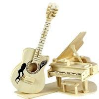 S00876  QWinOut 3d Wooden Puzzles Diy Wood Guitar Piano Musical Instruments Jigsaw Home Decoration Adults Children Toy + FP