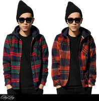 COOL, New arrival 2015 spring brand men's plaid shirt plus velvet hooded thick warm casual thin coat