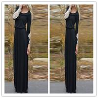 New 2015 Fashion Women Ladies O Neck Lace Long Sleeve Black Party Floor Length Dress M-XL