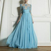 New 2015 Women Summer Fashion Sexy Lace Dress Chiffon Half Sleeve Backless Party Long Dress Blue