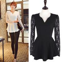 Freeshipping Women Fashion Lace V-Neck Crochet Casual Tee Shirts Chiffon Blouses Plus Size Tops Alipower S-XXL