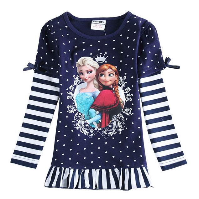 2015 New Spring Girls Queen Princess T-shirt 100% Cotton Baby Elsa & Anna t-shirts Kids Printed tshirt Children Cartoon Clothing(China (Mainland))