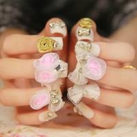Exaggeration white lace false nails art decoration,woman false nails manicure art ornament display,4.20807.Free shipping
