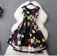 Europe Design 2015 Women's Fashoin Sleeveless V-Neck Sexy Summer Plus Size Front Short Back Long Dress Black Asymmetrical Dress