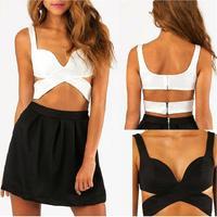 TOP Sexy Women Cut Out Bra Crop V-Neck Bustier Corset Tops Blouse Tank Top Back Zip Fashion YRD