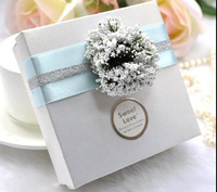 Free Shipping 100pcs/lot Light White Love Paper Candy Box Baby Shower Favour