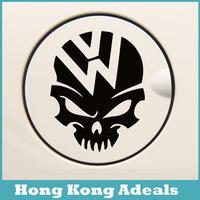 Free Shipping Style Car Stickers,W shaped Car Styling , Skull Waterproof On Rear Windshield Door Tank Lid Sticker Car Decoration