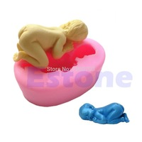D19 2015 hot-sellingSoft 3D Sleeping Baby Silicone Fondant Decorating Shape Soap Modelling Cake Mold free shipping