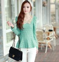 Fast/Free shipping 2015 Fashion Korean Spring Clothing Casual Blusas Femininas Lace Paillette Slim Blouse Women Blouses C351