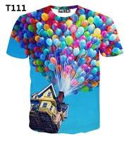 [Alice]free ship 2015 Top Hot ! Balloon Flying House 3D T-Shirt women/men casual tshirt popular high quality print t shirt
