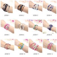 Mens Womens Fashion Bracelet Bangles Vintage Anchors Rudder Rectangle Leather Bracelet Multilayer Bracelets Hot Bracelets
